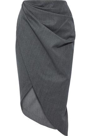 HELMUT LANG Draped wool pencil skirt