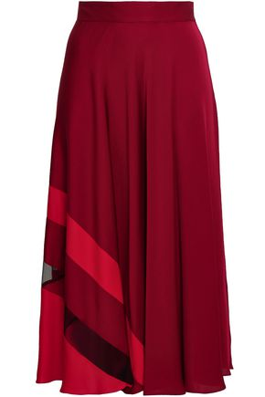 MILLY Tulle-paneled silk-blend crepe de chine midi skirt
