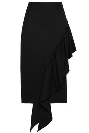 MILLY Ruffle-trimmed wool-blend crepe midi skirt