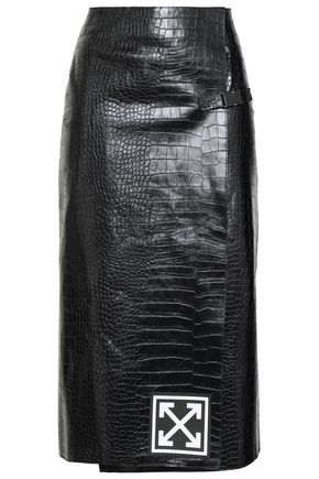 OFF-WHITE™ Appliquéd croc-effect leather wrap skirt