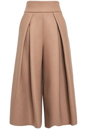 MILLY Pleated knitted culottes