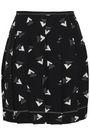 MARC JACOBS Pleated printed satin-crepe mini skirt