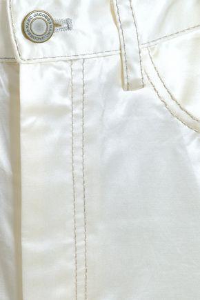 MARC JACOBS Metallic-trimmed cotton-blend satin mini skirt