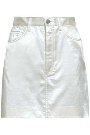 MARC JACOBS Metallic-trimmed cotton-blend satin mini skirt