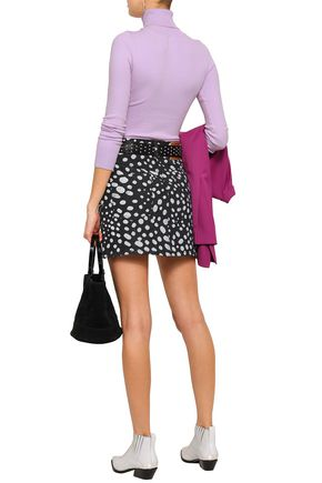 MARC JACOBS Embellished printed denim mini skirt
