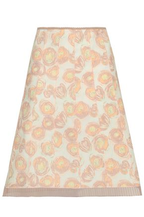 MARC JACOBS Organza-trimmed floral-print stretch-cotton poplin skirt