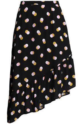 MARKUS LUPFER Asymmetric printed crepe skirt