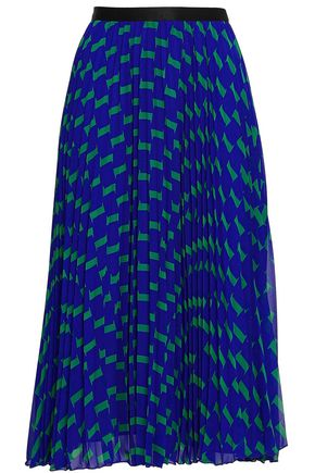 DIANE VON FURSTENBERG Pleated printed georgette midi skirt