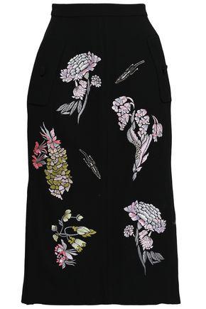 MARKUS LUPFER Embellished embroidered wool-crepe skirt
