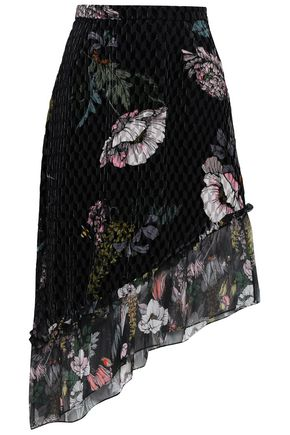 MARKUS LUPFER Asymmetric floral-print devoré-georgette skirt