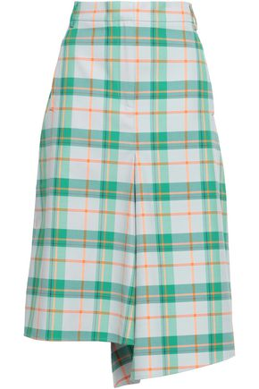 TIBI Asymmetric checked twill skirt