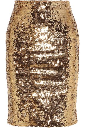 ALICE + OLIVIA Ramos sequined mesh pencil skirt