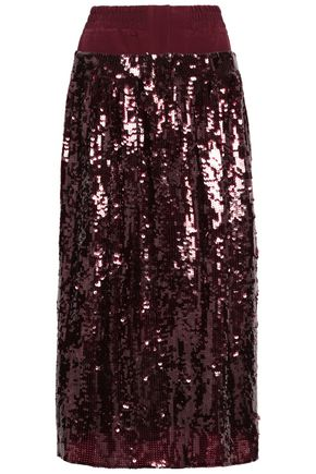TIBI Sequined crepe midi skirt