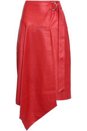 TIBI Asymmetric wrap-effect leather skirt