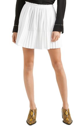 CHLOÉ Pleated cotton-poplin mini skirt