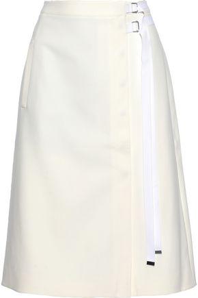 TIBI Grosgrain-trimmed cady wrap skirt