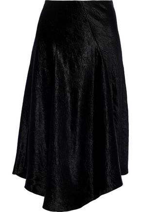VINCE. Asymmetric crinkled-satin midi skirt