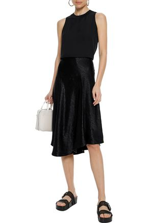 VINCE. Asymmetric crinkled-satin midi skirt