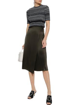 VINCE. Wrap-effect silk-charmeuse skirt