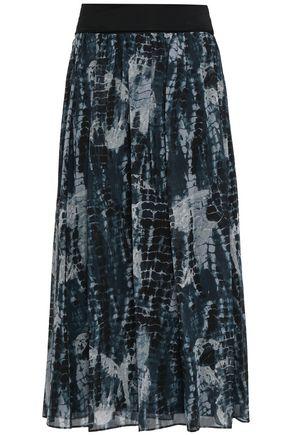 DKNY Pleated printed georgette midi skirt