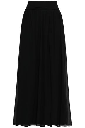 DKNY Stretch-knit and georgette maxi skirt