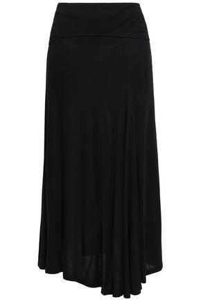 DKNY Asymmetric draped jersey midi skirt