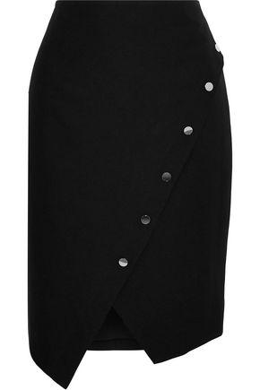 REBECCA MINKOFF Camilla asymmetric button-detailed crepe skirt
