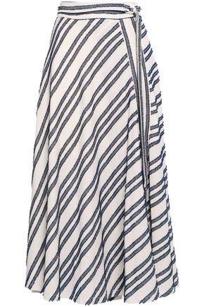 DKNY Frayed striped cotton-blend midi skirt