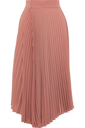 VINCE. Pleated wrap-effect crepe de chine midi skirt