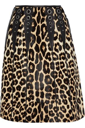 BOTTEGA VENETA Embellished leopard-print calf hair skirt