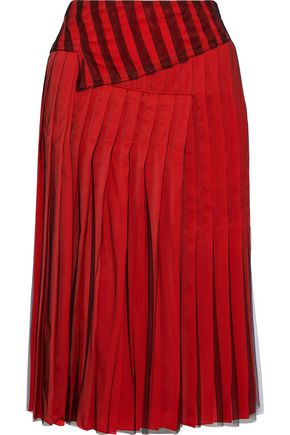 BOTTEGA VENETA Pleated layered tulle and satin skirt