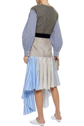 J.W.ANDERSON Patchwork striped crepe de chine, cotton-poplin and gauze skirt