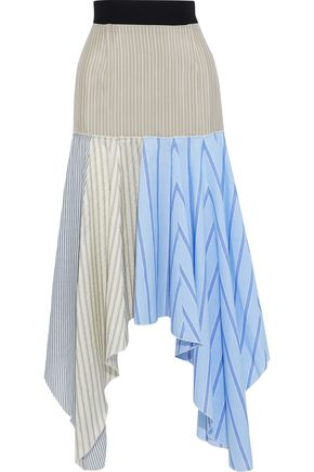 J.W.ANDERSON Patchwork striped crepe de chine, cotton-poplin and gauze skirt