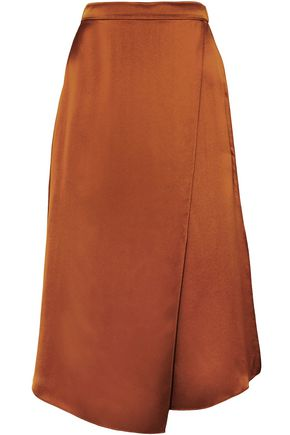 VINCE. Asymmetric wrap-effect silk-satin skirt