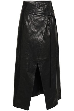ANN DEMEULEMEESTER Leather midi wrap skirt