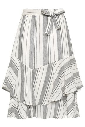 DKNY Layered striped linen and cotton-blend midi skirt