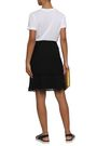 DKNY Lace-trimmed satin-crepe skirt
