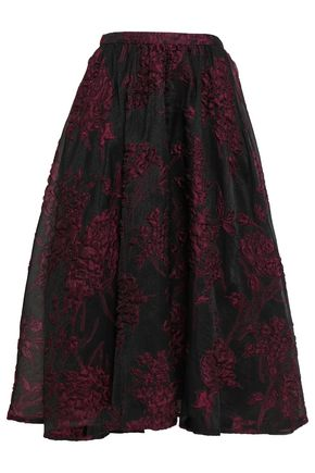 CO Flared silk-blend cloqué midi skirt