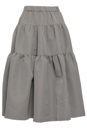 CO Flared gathered houndstooth jacquard midi skirt