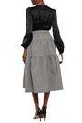 CO Flared gathered houndstooth jacquard midi skirt
