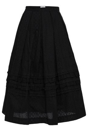 CO Flared embroidered cotton-mousseline midi skirt