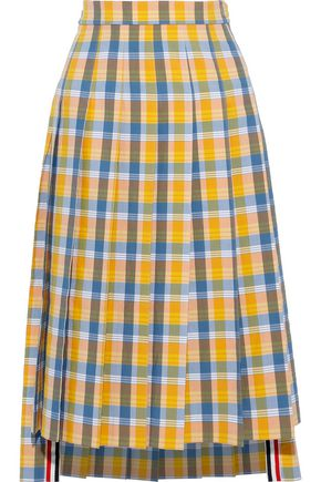 THOM BROWNE Pleated checked cotton and silk-blend seersucker skirt