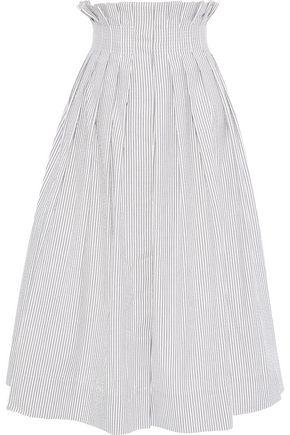 THOM BROWNE Pleated striped cotton-seersucker midi skirt