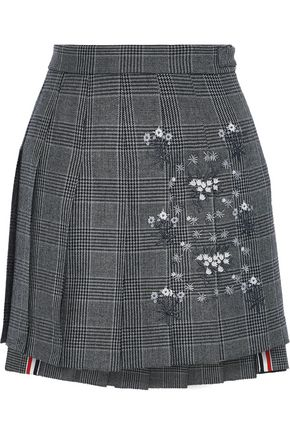 THOM BROWNE Embroidered Prince of Wales checked wool mini skirt