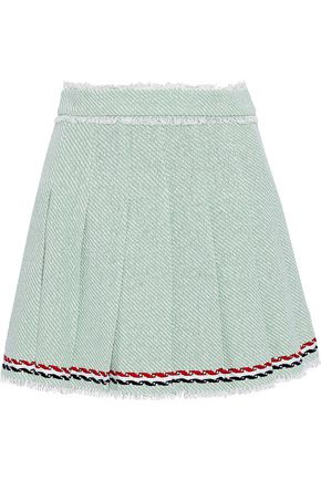 THOM BROWNE Pleated embroidered cotton-tweed mini skirt