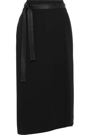 VINCE. Faux leather-trimmed cady midi wrap skirt