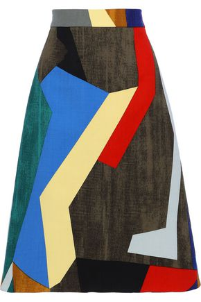 MARNI Flared color-block wool-blend twill skirt
