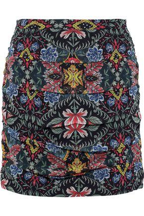 REBECCA MINKOFF Adalynn ruched floral-print georgette mini skirt