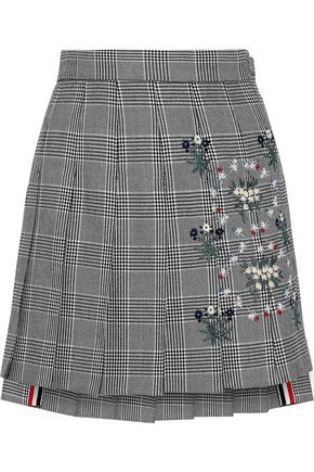 THOM BROWNE Embroidered pleated Prince of Wales checked wool mini skirt