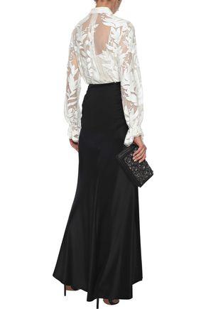 ELIE TAHARI Pleated satin-crepe maxi skirt
